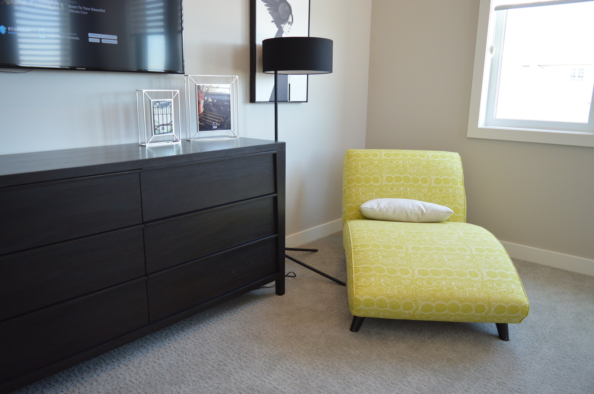black and white room with yellow chair - PGS Carpets